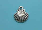 30 Sea Shell Charms silver tone