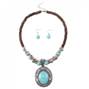JTC Womens Turquoise Necklace Hook Earring Set 2pc