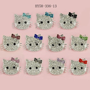 58-336 10pcs DIY Hello Kitty Cat Connector for Shamballa Jewellery Making Crystal Cat Beads Charms