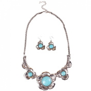 JTC Womens Retro Turquoise Necklace Hook Earring 2pc Set
