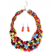 JTC Womens Colourful Statement Necklace Hook Earring 2pc Set
