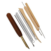 1Kit With 7PCS Wood+Stainless Steel Clay Sculpting Set Wax Carving Pottery Tools