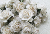 25 pcs BIG Rose pure White colour Mulberry Paper Flower 40 mm scrapbooking wedding doll house supplies card