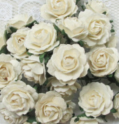 25 Pcs White Rose Mulberry Paper Flower 25-30 mm Scrapbooking Wedding Doll House Supplies Card Project