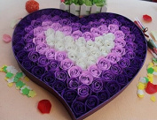 100pcs Fragrant Rose Bud Petal Soap Wedding Favour+ Heart Shape Box