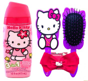 Hello Kitty Tear Free Hypoallergenic Cotton Candy 3 in 1 Body Wash Shampoo and Conditioner with Hello Kitty Bow and Hair Brush!