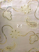 FLORAL SWIRL SEQUINS MESH FABRIC - Ivory - 140cm WIDTH SOLD BY THE YARD