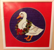 Vintage 1986 - Holly Duck - Persian Wool Needlepoint Kit 25cm Diameter