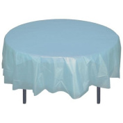 Perfectmaze Set of 7 Round Plastic Table Covers 210cm (Inch)_Baby Blue