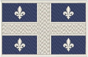 Quebec Canada Flag Iron-on Patch Biker Emblem White Merrow Border