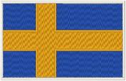 Sweden Flag Iron-on Patch Biker Emblem White Merrow Border