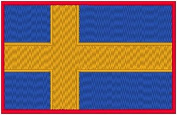 Sweden Flag Iron-on Patch Biker Emblem Red Merrow Border