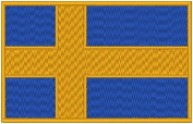 Sweden Flag Iron-on Patch Biker Emblem Gold Merrow Border