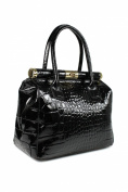 "Belli® ""The Bag L"" Womens Italian Genuine Leather Handbag Satchel Bag Patent Leather Croco Embossing Black - 29x24x16 cm"