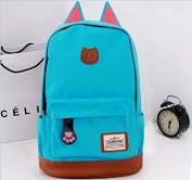 Moolecole Cat Ears Canvas Backpack School Rucksack