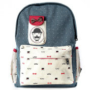 Wuiyepo Unisex Cute Bow Women Canvas Backpack Fashion Moustache School Rucksack