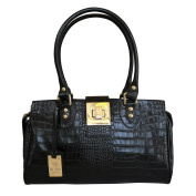 Designer Italian Croc Printed Leather Baguette Bag