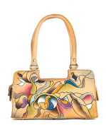 Zimbelmann - Womens Baguette Top - Handle Bag - made of genuine Nappa Leather - multicoloured handpainted - Whitney