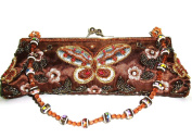 Brown' Butterfly' Embriodered & Beaded Evening Handbag
