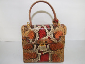 MAIDOMI-HANDLE ELEGANT EXCLUSIVE BAG-MADE IN ITALY-SNAKE LEATHER AND. ELEMENTS LIMITED EDITION