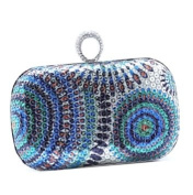 PrettyGuide Women's Acrylic Stone Rhinestone Ring Painting Sequin Peacock Clutch Evening Party Handbag