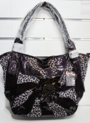 PINK LABEL Purple Patent & Leopard Print Flower Detailed Shoulder Bag