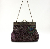 Ecosusi Antique Beaded Sequin Turquoise Sunburst Clutch Evening Handbag Purse