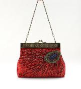 Ecosusi Antique Beaded Sequin Turquoise Sunburst Clutch Evening Handbag Purse
