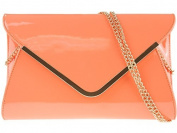 Girly HandBags New Patent Envelope Clutch Bag Hard Case Glossy Summer Metallic Strap Neon