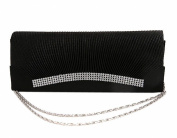 Demarkt Black Wedding Party Bag Ladies Womens Evening Hand Bag Satin Pleated Frill Purse Clutch Wristlets with Crystal Diamente Hem Shoulder Chain