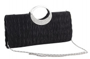 Demarkt Black Wedding Party Bag Satin Pleated Purse Clutch Hand Bag with O Ring Crystal Diamente Handle Ladies Womens Evening Wristlets with Shoulder Chain