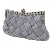 Demarkt Braided Satin Purse Clutch Wristlets with Crystal Diamante Wedding Party Bag Shoulder Chain Ladies Womens Evening Hand Bag Grey
