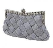 Demarkt Braided Satin Purse Clutch Wristlets with Crystal Diamante Wedding Party Bag Shoulder Chain Ladies Womens Evening Hand Bag Grey