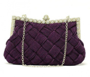Demarkt Braided Satin Purse Clutch Wristlets with Crystal Diamante Wedding Party Bag Shoulder Chain Ladies Womens Evening Hand Bag Purple