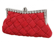 Demarkt Braided Satin Purse Clutch Wristlets with Crystal Diamante Wedding Party Bag Shoulder Chain Ladies Womens Evening Hand Bag Red