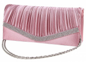 Demarkt Ladies Womens Evening Wristlets Satin Pleated Frill Purse Clutch Hand Bag with Crystal Diamente V Hem Shoulder Chain Pink Wedding Party Bag