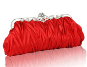 Demarkt Satin Pleated Frill Purse Clutch Wristlets with Crystal Shining Shoulder Chain Red Wedding Party Bag Ladies Womens Evening Hand Bag