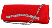 Demarkt Red Wedding Party Bag Ladies Womens Evening Hand Bag Satin Pleated Frill Purse Clutch Wristlets with Crystal Diamente Hem Shoulder Chain