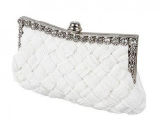 Demarkt Braided Satin Purse Clutch Wristlets with Crystal Diamante Wedding Party Bag Shoulder Chain Ladies Womens Evening Hand Bag White