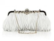 Demarkt Satin Pleated Frill Purse Clutch Wristlets with Crystal Shining Shoulder Chain White Wedding Party Bag Ladies Womens Evening Hand Bag