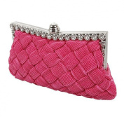 Demarkt Braided Satin Purse Clutch Wristlets with Crystal Diamante Wedding Party Bag Shoulder Chain Ladies Womens Evening Hand Bag Rose