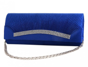 Demarkt Royal Blue Wedding Party Bag Ladies Womens Evening Hand Bag Satin Pleated Frill Purse Clutch Wristlets with Crystal Diamente Hem Shoulder Chain