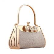 Demarkt Womens Evening Wristlets Alloy Metal Purse Clutch Hand Bag with Crystal Diamente Ladies Wedding Party Princess Bag