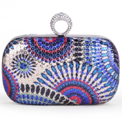 TopTie Fashion Peacock Style Sequin Clutch - Colourful Blue
