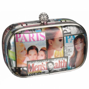Colour Silver Trim Magazine Print Clutch Bag With A Crystal Top Clasp