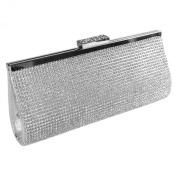 Silver Sparkly Diamante Metalic Clutch Evening Bag With A Long Chain