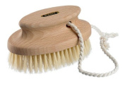 Kent Brushes Compact Natural White Bristle Shower/ Exfoliating Brush Oval Beechwood Handle