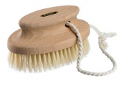 Kent Brushes Compact Natural White Bristle Shower/ Exfoliating Brush Oval Beechwood Handle