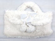 WHITE FAUX FUR HOT WATER BOTTLE WITH COVER WITH CARRY HANDLE