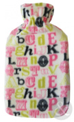PRINTED Fleece Hot Water Bottles Very High Quality Hot Water Bottle with Cover Alphabet - Multicoloured ( black green